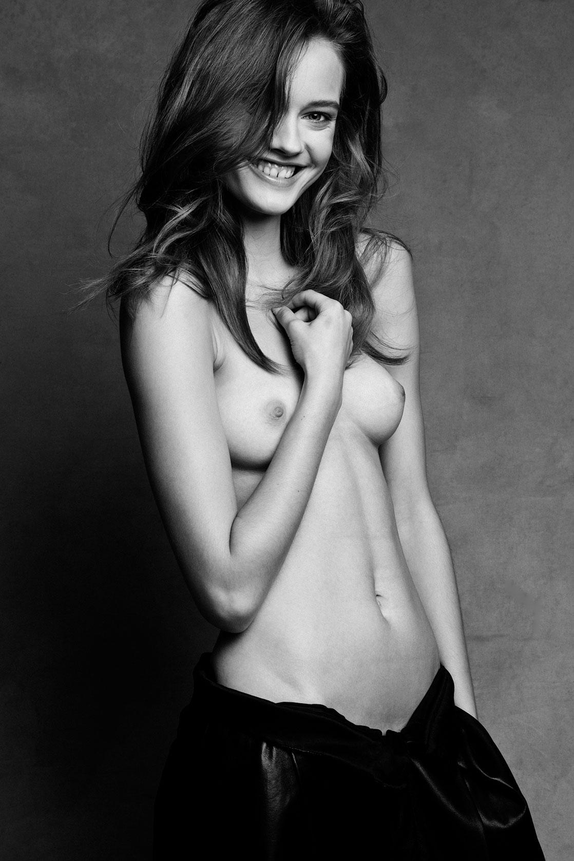Topless fashion model, hunks in transparent underwear