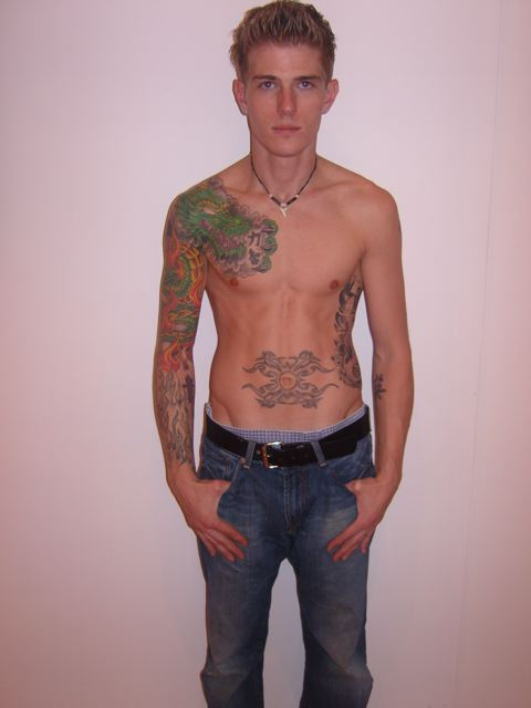 The recent trend of tattoed male models continues with Red Models' new face