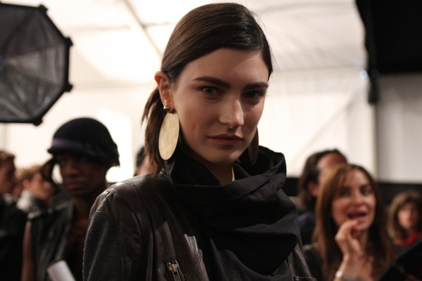 Jacqueline Jablonski at Yigal Azrouel backstage