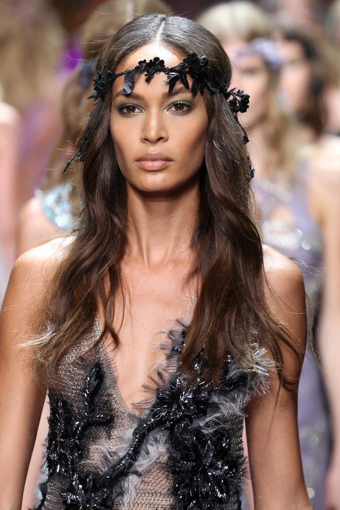 PARIS, FRANCE - JULY 05:  Joan Smalls walks the runway during the Versace show as part of Paris Fashion Week Haute Couture Fall/Winter 2015/2016 on July 5, 2015 in Paris, France.  (Photo by Antonio de Moraes Barros Filho/WireImage)